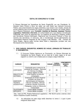 EDITAL DE CONCURSO N.º 01/2008 A Câmara Municipal de