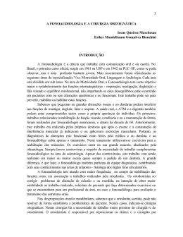 1 A FONOAUDIOLOGIA E A CIRURGIA ORTOGNÁTICA