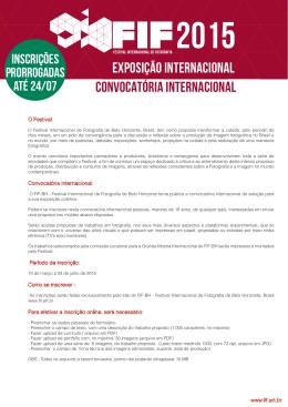 edital / convocatória - Festival Internacional de Fotografia de Belo