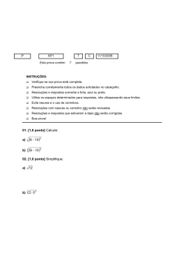 01. [1,0 ponto] Calcule
