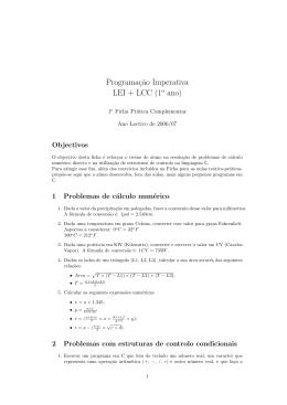 Ficha de Trabalho nº 1C - exercícios complementares