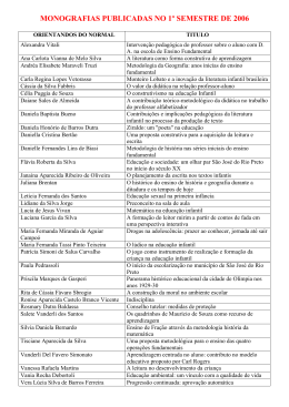 MONOGRAFIAS PUBLICADAS NO 1º SEMESTRE DE 2006