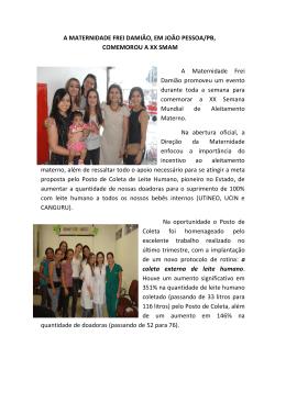 A MATERNIDADE FREI DAMIÃO, EM JOÃO PESSOA/PB