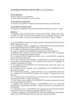 ALOJAMENTOS DO XIV EANE NO IFPB – CAMPUS JOÃO PESSOA