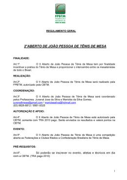 2°ABERTO DE JOÃO PESSOA DE TÊNIS DE MESA