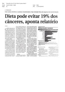Título: Dieta pode evitar 19% dos cânceres, aponta relatório Veiculo