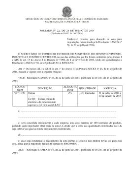 PORTARIA Nº 22, DE 28 DE JULHO DE 2014 Estabelece critérios