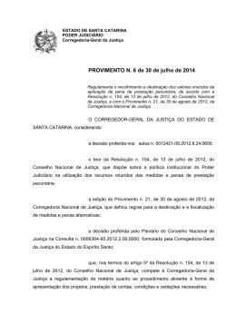 PROVIMENTO N. 6 de 30 de julho de 2014 - Corregedoria