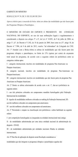 Resolução n° 39 de 31 de Julho de 2014
