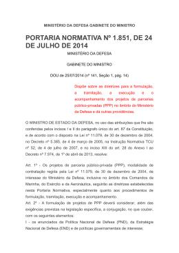 PORTARIA NORMATIVA Nº 1.851, DE 24 DE JULHO DE 2014