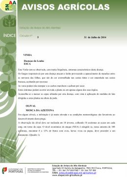 5 31 de Julho de 2014 VINHA Doenças do Lenho ESCA OLIVAL