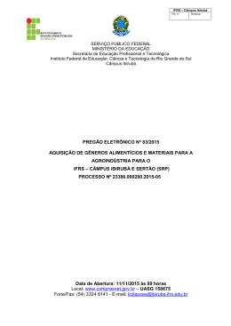 Pregão 83-2015 Aquisição de Gêneros Alimentícios e