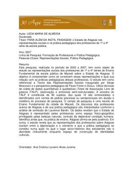 Autor: LEDA MARIA DE ALMEIDA Doutorado Título: PARA ALÉM