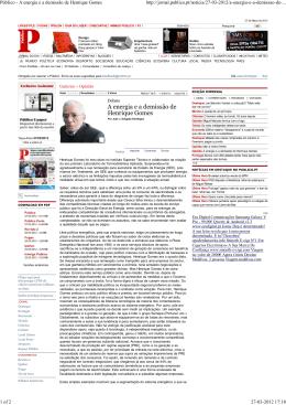 Público - A energia e a demissão de Henrique Gomes
