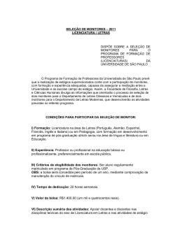 Licenciatura na área de Letras - Departamento de Letras Modernas