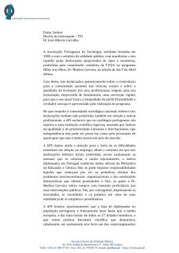 Exmo. Senhor Diretor de Informação – TVI Dr. José Alberto