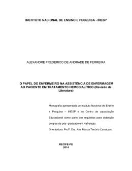 O PAPEL DO ENFERMEIRO NA ASSISTÊNCIA DE ENFERMAGEM