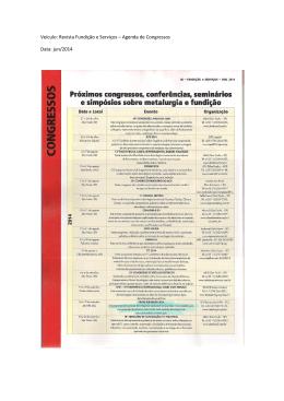 Veículo: Revista Fundição e Serviços – Agenda de