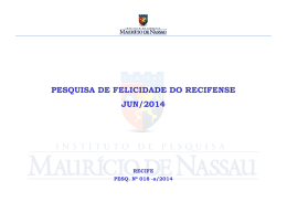 PESQUISA DE FELICIDADE DO RECIFENSE JUN/2014