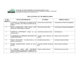RELAÇÃO DOS TCC DE DIREITO-2009-2 Nº DE