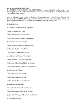 Portaria Ministério das Comunicações nº 315/2009