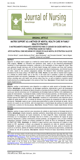 matrix support as a method of mental health care in family health