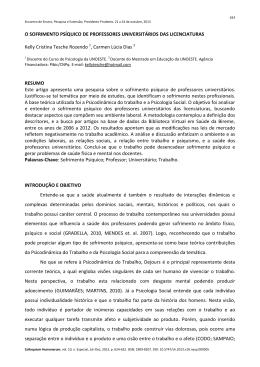 O SOFRIMENTO PSÍQUICO DE PROFESSORES