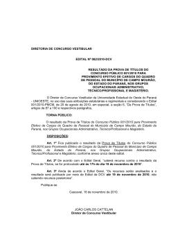 diretoria de concurso vestibular edital nº 082/2010-dcv