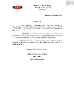 TRIBUNAL DE JUSTIÇA PODER JUDICIÁRIO São Paulo