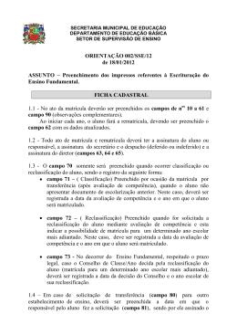 Orientação 002-SSE-12 Escrituração Ensino Fundamental Regular