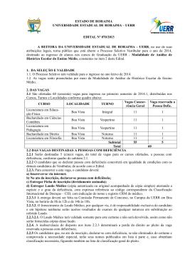 ESTADO DE RORAIMA UNIVERSIDADE ESTADUAL DE