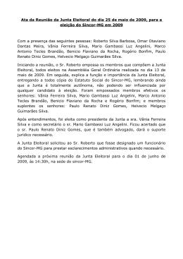 Ata da Reunião da Junta Eleitoral do dia 25 de maio de