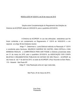 resolução acopesp 2/2015