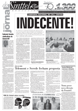 Telemont e Serede fecham proposta - Sinttel-Rio