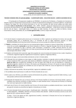 Terceira Chamada Oral - Edital SiSU UFSM - Segunda