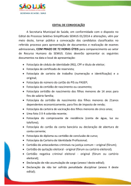 Edital do Processo Seletivo Simplificado SEMUS 01/2014 Formato