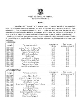 ORDEM DOS ADVOGADOS DO BRASIL Seção do Estado da Bahia