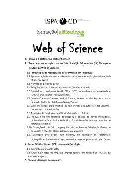 1. O que é a plataforma Web of Science? 2. Como efetuar o registo