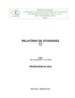 relatorio final prodocencia 2010 - Licenciatura em Ciências Biológicas