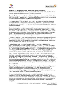 release do projeto - Avante • Educação e Mobilização Social