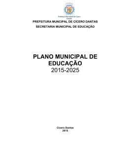 plano municipal de educação - Prefeitura de Cícero Dantas