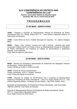 conferência da luz - Rotary International – Distrito 4560