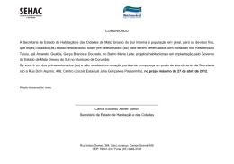 COMUNICADO A Secretaria de Estado de Habitação e das