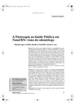 A Fitoterapia na Saúde Pública em Natal/RN: visão do