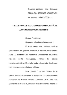 0305 A cultura de Mato Grosso do Sul está de luto