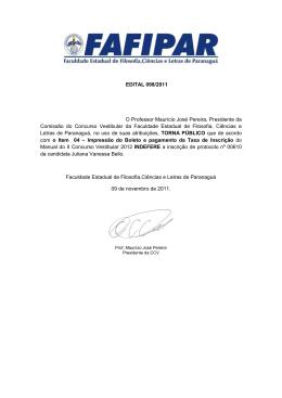 EDITAL 098/2011 O Professor Maurício José Pereira