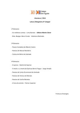 Literatura 2014 - Colégio Dom Aguirre