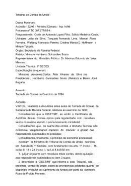 Tribunal de Contas da União Dados Materiais: Acórdão 122/96