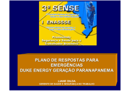PLANO DE RESPOSTAS PARA EMERGÊNCIAS DUKE ENERGY