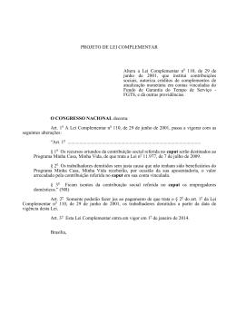 PROJETO DE LEI COMPLEMENTAR Altera a Lei Complementar n